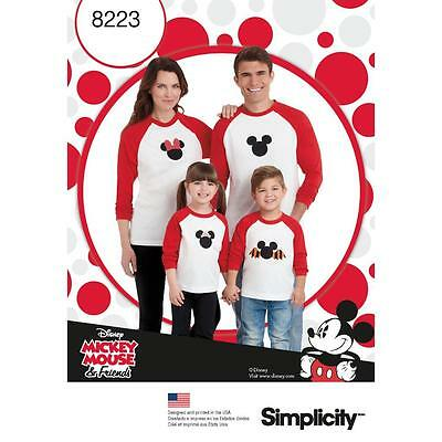 Simplicity Sewing Pattern Child's Adult Knit Top Minnie Micky & Mouse 8223
