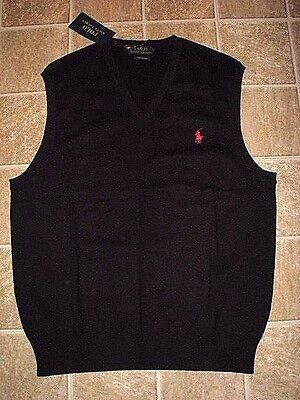Mens $80. (XXL) POLO-RALPH LAUREN Black Pima Cotton V-Neck Sweater Vest
