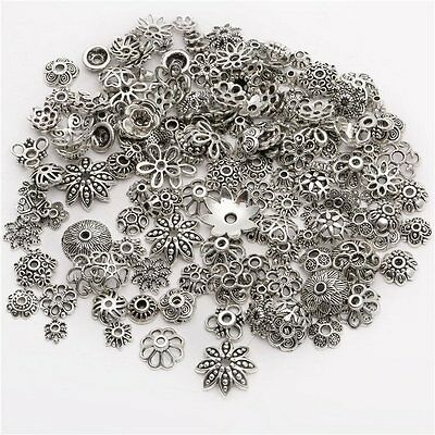 50Pcs Tibetan Silver Flower End Spacer Loose Beads Caps For Jewelry Craft DIY