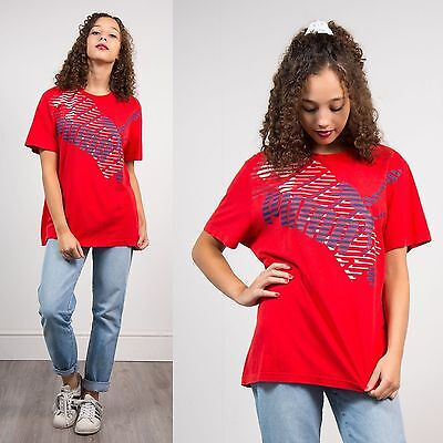 Puma Bright Red Crew Neck Short Sleeve Oversize Sports T-Shirt Top Casual 16