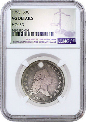 1795 50C Flowing Hair Half Dollar S Over D NGC VG Details Holed