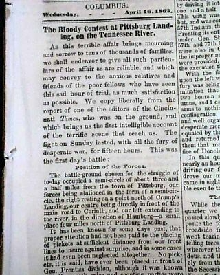 BATTLE OF SHILOH Pittsburg Landing Tennessee Abraham Lincoln Civil War 1862 News