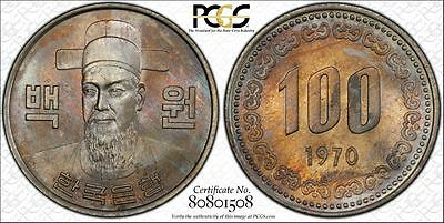 Korea 100 Won 1970 MS64 PCGS copper-nickel KM#9 Key Date Colorful Toned Gem