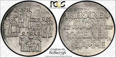 Finland 10 Markkaa 1977K-H MS69 PCGS silver KM#55 60th Ann Independence 400k