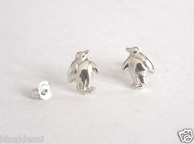 Kids ladies Girls 925 Sterling Silver Small Penguin Stud Earrings X'Mas GIFT BOX