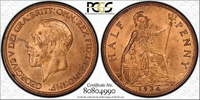 Great Britain 1/2d Half Penny 1934 MS65 RB PCGS KM#837 George V Key Finest