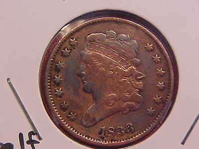 1833 P Half Cent - Cleaned - Vf - See Pics! - (N3360)