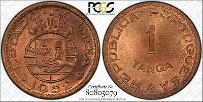 India-Portuguese 1 Tanga 1952 MS65 RB PCGS bronze KM#28 Tied 2nd Finest