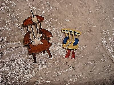 Vintage Chair With Mouse & Cat And Rocking Chair Wood Christmas Ornaments (2)