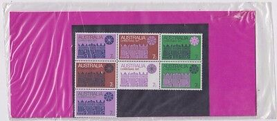 Christmas stamps Australia 1971 block of 7 in original post office pack uncommon