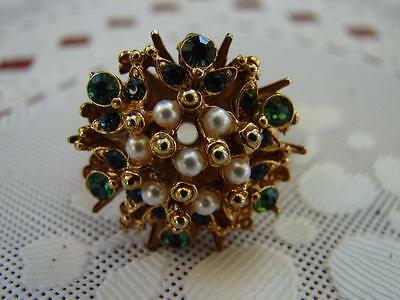 Signed FLORENZA Cocktail Ring Rhinestone Seed Pearls Adjustable Band Gold Tone