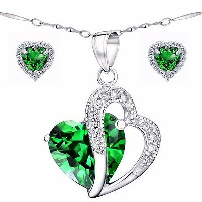 """Women's Created Emerald Sterling Silver Pendant Necklace Earring Set  18"""" Chain"""