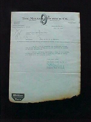 Used Letterhead 1926 Miller Rubber Co Akron Oh Illus Tire