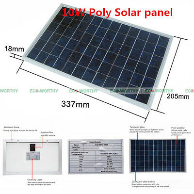 10W Watt Solar Panel Panels Cell For Car Boat Battery Charging Charger