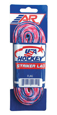"""A&R Striker Ice Hockey Skate Laces Waxless Pro Style Heavy Duty Lace Flag 96"""""""