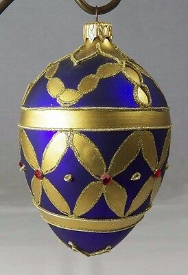 Hand Made Glass Egg Shaped Christmas Ornament with Rhinestones Purple Gold