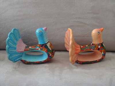 2x Peacock Clay Handmade & Painted Bird Art Napkin Rings - Bright & Whimsical