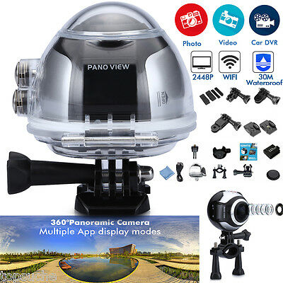 2448P 360° Pro Cam 16MP Ultra HD Sport Action Panoramic 3D VR Videocamera Wifi