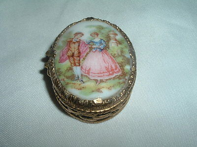 Vintage Hand Painted Pill Box Lovers in the Garden Porcelain Brass Victorian