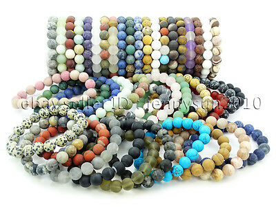 Handmade 10mm Matte Frosted Natural Gemstones Round Beads Stretchy Bracelet