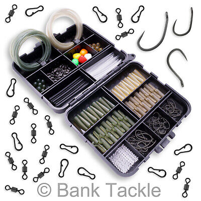 Carp Fishing Tackle Box Set Lead Clips Beads Rig Tubing Swivels Hooks (BS8)