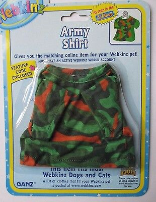 w Army Shirt top fits most WEBKINZ cat dog pet CLOTHING new with code