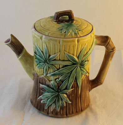 Antique Majolica Bamboo & Prunus Design Teapot