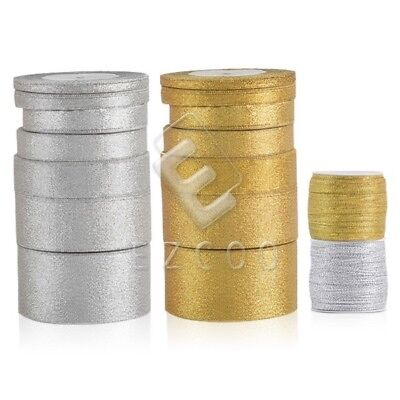 25/50Yards Gold/Silver Metallic Organza Ribbon Glitter Ribbon Craft 3-50mm BM