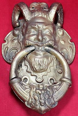 "Bacchus 15"" Door Knocker - Cast Iron - Devil - Demon - Satyr - Vintage"