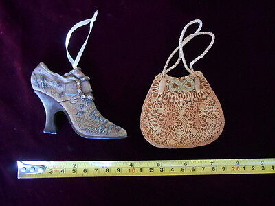 "Victorian Shoe & Purse Christmas Ornaments 3"" Tall"