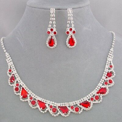 Red with Crystal Rhinestone Necklace Earrings Set Silver Fashion Jewelry NEW
