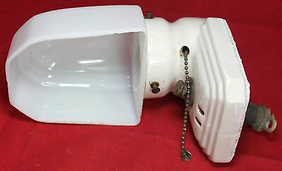 Porcelain Wall Sconce Light Fixture w/ Milk Glass Shade w/ Pull - Vintage - NICE