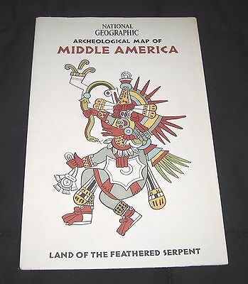Vintage 1968 National Geographic Archeological Map of Middle America