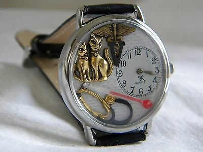 Veterinarian or Vet Tech Watch with Cats caduceus, stethoscope, and thermometer