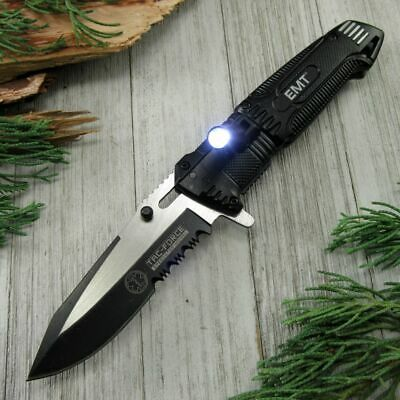 SPRING-ASSIST FOLDING POCKET KNIFE Black EMT Paramedic Blade LED Light EDC