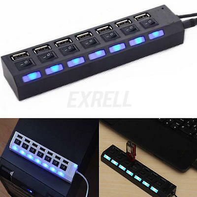 New Black 7-Port USB 2.0 Hub with High Speed Adapter ON/OFF Switch for Laptop PC