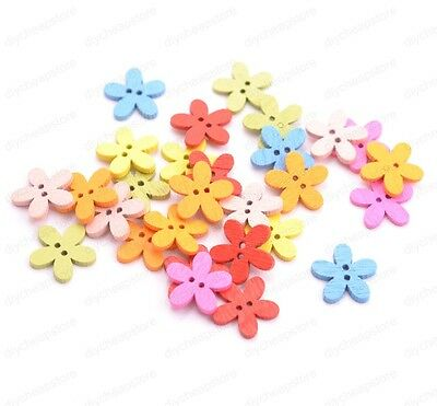 50/100Pcs Random Mix Colour Wood Flower Beads Buttons Jewelry Findings