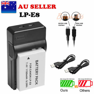 Battery + USB Charger LP-E8 LPE8 For Canon 700D 650D 600D 550D Kiss X4 Rebel AU