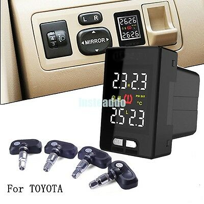 Wireless TPMS PSI/BAR Tire Tyre Pressure Monitor System+4 Sensors LCD For Toyota