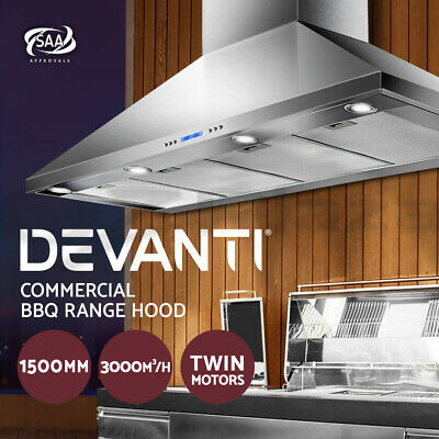 Rangehood BBQ Commercial Range Hood Alfresco Canopy Kitchen Stainless 1500MM