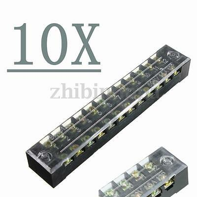 Lot10 Dual Row 12 Positions Screw Terminal Electric Barrier Strip Block 600V 15A