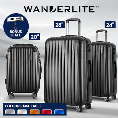 Wanderlite 2pc 3pc Luggage Suitcase Trolley Set TSA Hard Case Lightweight