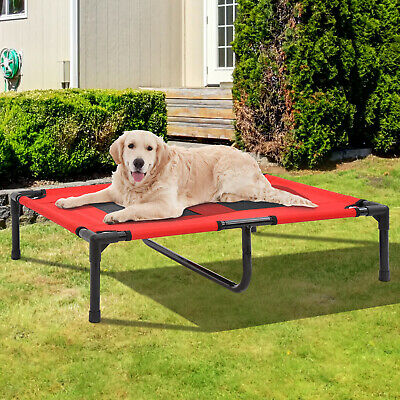 Pawhut Elevated Pet Bed Large Red Dog Cot Raised Off Ground Steel Frame Support