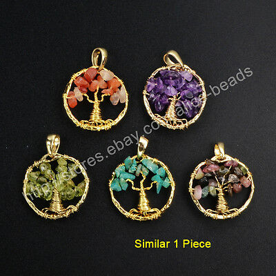 1Pcs Chakra Healing Natural Gems Chips Wire Wrap Tree Of Life Pendant HOT HWX049