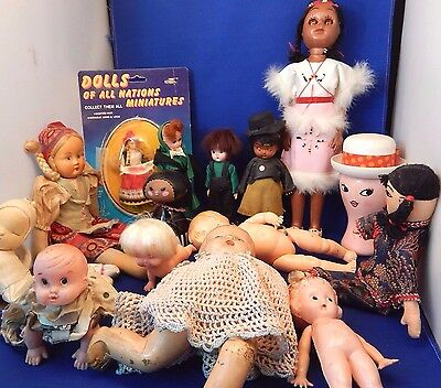 Huge Collection Of 15 Old Antique And Collectible Vintage Dolls