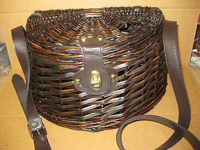Wicker Fishing Basket Picnic Christmas Present Shoulder Creel Adjustable Strap N