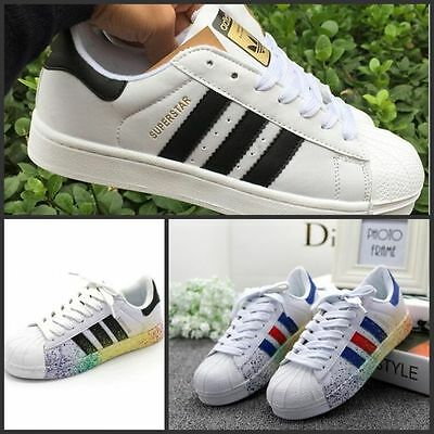 Men's Women's Striped Lace Up Sport Running Sneakers Superstar Trainers Shoes