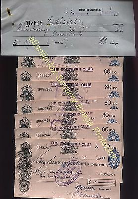 1953 Dumfries BANK OF SCOTLAND Cheque lot THE SOUTHERN CLUB + 2d REVENUES