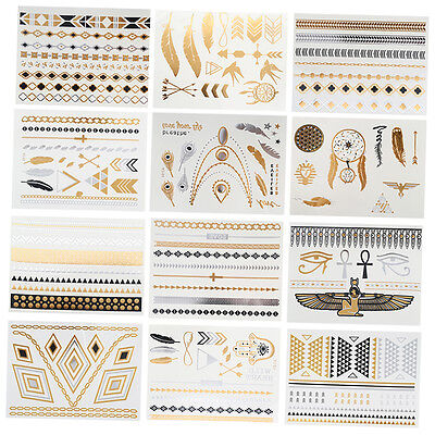 12pcs Tattoos stickers Boho Temporary Jewelry Sheet of Metallic Jewelry Tattoo X