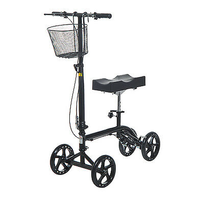 Steerable Folding Knee Walker Scooter Turning Brakes Basket Medical Drive Cart